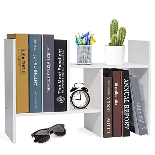 Hossejoy Desktop Organizer Office Storage Rack Adjustable Wood Desk Organizer Display Shelf, Countertop Bookcase Desktop Bookshelf- Free Style Double H Display, White