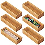 mDesign Juego de 6 Cajas organizadoras para Escritorio y cajón – Caja Rectangular de bambú – Organizador de Madera artículos de Oficina y Manualidades – Color Natural