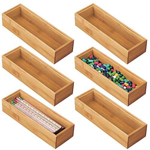 mDesign Juego de 6 cajas organizadoras para escritorio y cajón – Caja rectangular de bambú – Organizador de madera de para artículos de oficina y manualidades – color natural