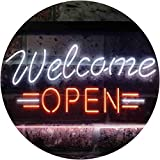 ADV PRO Open Welcome Shop Display Dual Color LED Enseigne Lumineuse Neon Sign Blanc et Orange 400 x 300mm st6s43-i2267-wo