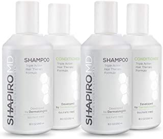 Shapiro MD Shampoo and Conditioner for Hair Regrowth All-Natural DHT Blockers - Thicker,