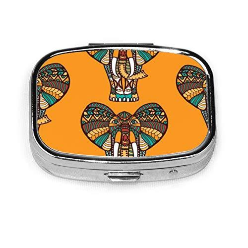 Pastillero de elefantes vintage para monedero o bolsillo - Pastillero/estuche de píldora grande Organizador de viaje conveniente