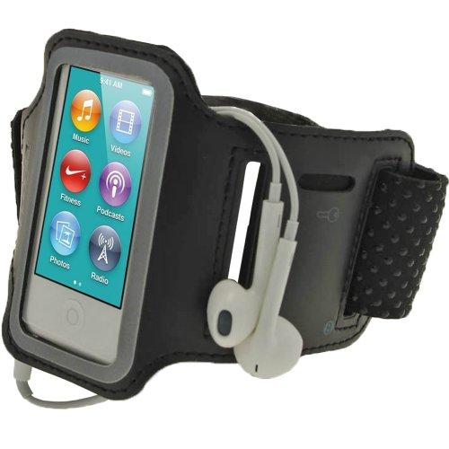 iGadgitz U2043 Schwarz Reflektierende Anti-Rutsch Neopren Sports Armband Oberarmtasche Tasche Schutz Hülle Kompatibel mit Apple iPod Nano 7. Gen 7G