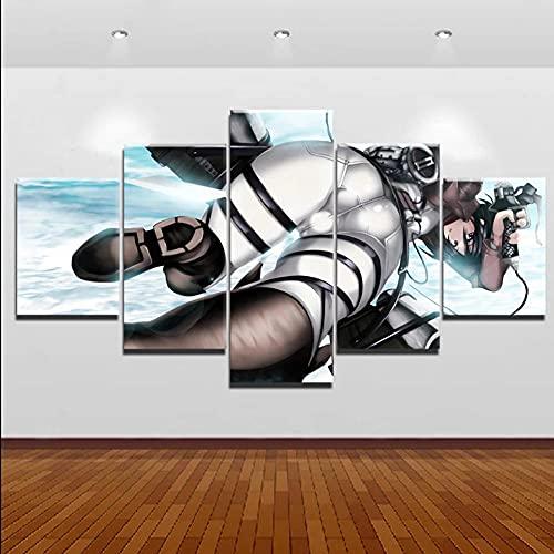 GHYTR Imagen sobre Lienzo Cuadros Abstractos Modernos XXL Poster 5 Piezas Ataque A Los Titanes Arte De Pared Imágenes Modulares Sala De Estar Decoración para El Hogar 150X80Cm