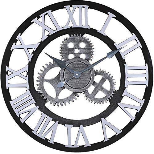 """Jcw 19.7\""""(50CM) Redondo Reloj de Pared,Antiguo Hecho a Mano de Madera Vintage 3D Diseño de Gear (Silver)"""