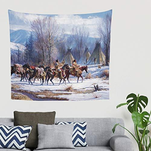 Hippie - Tapiz de pared con diseño indio americano, decoración de pared, cabecero 150 x 130 cm blanco