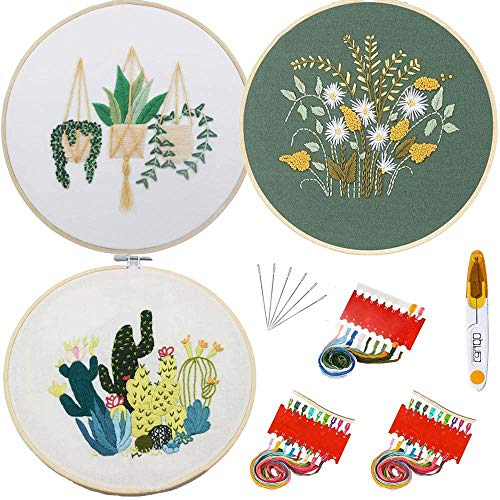 Kit bordado Embroidery Starter Kit bordado magico Stitch Set Including Embroidery Hoop,Threads,Cloth,Tools Kit,Instruction (3PCS)