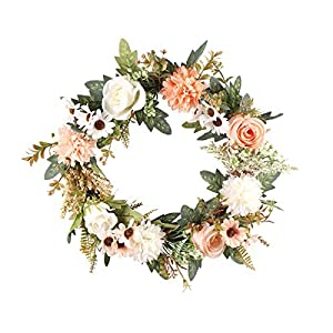 Front Door Rose Wreath , Artificial Pink Floral Wreath with Green Leaves ,Classic Flowers Door Decorations Hanging European-style Begonia Garland for Home Room Garden Decoration, 40cm/15.75 inch