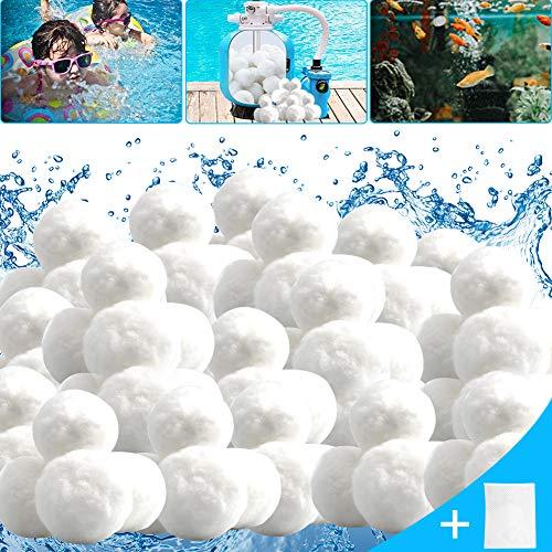 JUCJET Pool Filter Balls 1400g Filterbälle (Inkl. gratis Wäschenetz) ersetzen 50 kg Filtersand für Pool, Schwimmbad, Filterpumpe, Aquarium Sandfilter