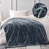 Whale Flotilla 450GSM Ultra Soft Long Hair Fleece Blanket, 50x70 Inch Oversize Faux Fur Throw Blanket, Luxury Plush Cozy Fluffy Thick Blanket, Grey