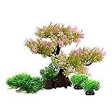 Plantas de acuario de pecera Decoraciones Set/7.5 pulgadas de alto plástico artificial planta de peces de paisaje de aguas de peces escondite cerezo flor de árbol (juego rosa)