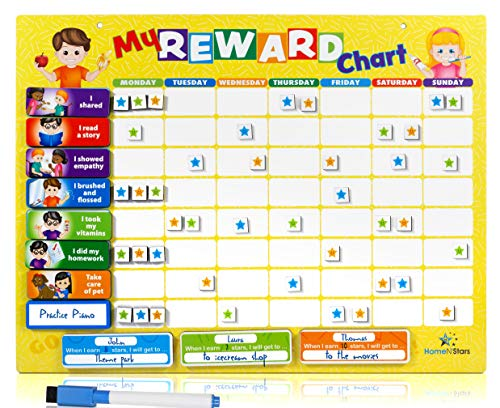 Reward Chart for Kids Chore Chart (60 Color Coded Chore Tags) Toddler Chore Chart, Thick Magnetic, Multiple Kids