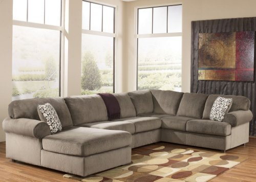 Ashley Furniture Jessa Place Dune Fabric Upholstery 3 Pc Sectional with Left Arm Facing Chaise