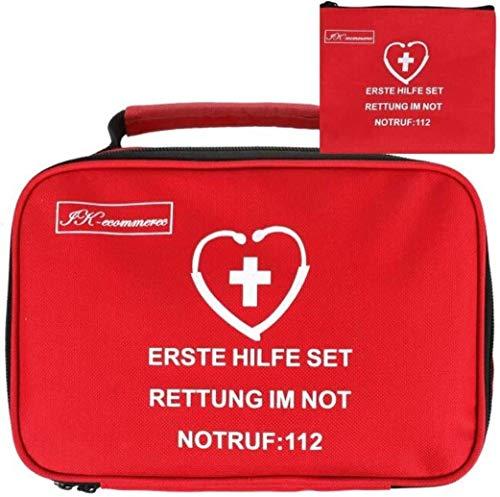 IK-Commerce Erste-Hilfe-Set, 154-teilig, inklusive Bandagen, Rettungsdecke für Zuhause, Büro, Auto, Wohnwagen, Arbeitsplatz, Reisen