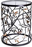 Palais Furnishings 'Feuilles' Metal Barrel End Table, Leaf Design (Branch & Bird Design)