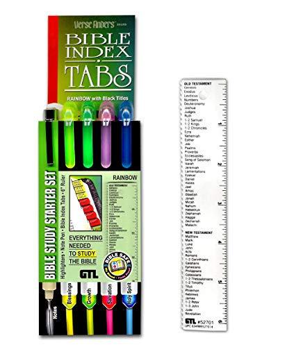 G.T. Luscombe Company, Inc. Accu-Gel Bible Highlighter, Pigma Micron Bible Study Starter Set – Rainbow Verse Finder Bible Tabs   No Bleed Pigmented Ink 01 Fine Point Black   Yellow, Green, Pink, Blue