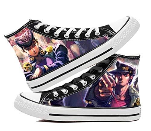 XYUANG JoJoJo's extraña aventura anime zapatos manga cosplay zapatos de lona zapatillas de deporte de fitness atlético zapatillas de deporte para las mujeres hombres A-7.5UK