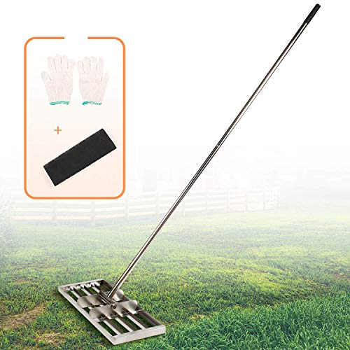 IWONGO Lawn Leveling Tool 30'' x 10'' - Rake Leveling with 72'' Long Stainless Steel Handle, Lawn Levelers for Soil Dirt Sand Top Dressing