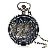 NOBRAND Reloj de Bolsillo, Reloj de Bolsillo del Cuarzo del Collar de Bronce de Las señoras de los Hombres Lindos Calientes de Cobre del Conejo, león