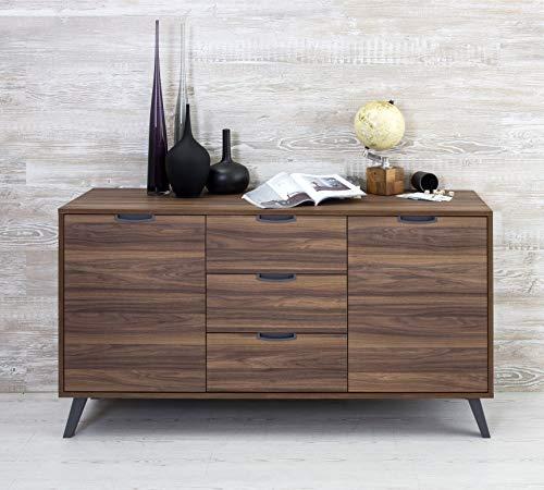 Design Twist Rosy Madia con 3 cassetti e 2 Ante, Noce, 154x50xH 84 cm