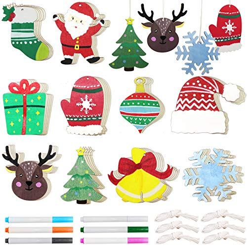 50 Pcs Wood Ornaments Christmas Wooden Unfinished DIY Ornaments Crafts, 10 Style Unfinished Wood Crafts for Christmas Decoration and DIY Ornaments Making