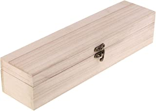 LoveinDIY Natural Wood Box with Lid and Clasp – Make Your Own Gift, Jewelry, Memory Box- Long Wooden Wine Boxes for Gifts Table Centerpieces