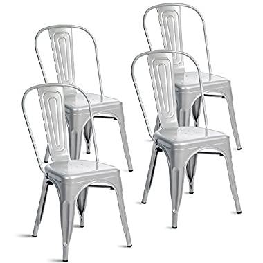 Merax Indoor-Outdoor Use Tolix Style Metal Bistro A Dining Side Chair Stackable Highback Chic Cafe Side Chair Set of 4, (Shiny Silver)