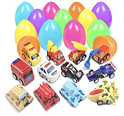 Easter Eggs Easter Basket Stuffers Filled 12 Pack Eggs with Pull Back Construction Vehicles and Race Cars Inside, Colorful Pre Easter Eggs For Kids Easter Basket Gifts Fillers