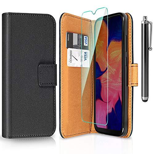 ivencase Funda Compatible con Samsung Galaxy A10 y Protector de Pantalla y bolígrafo, Libro Caso Cubierta la Tapa magnética Protector de Billetera Cuero de la PU Carcasa - Negro