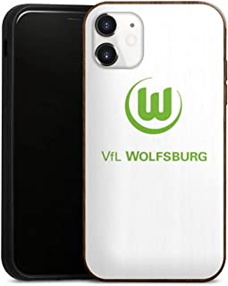 DeinDesign Holz Case kompatibel mit Apple iPhone 11 Walnuss Handyhülle Echtholz Hülle VFL Wolfsburg Offizielles Lizenzprodukt Logo
