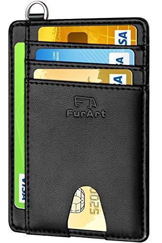 FurArt Tarjeta de crédito Titular de la Cartera, Delgado RFID Bloqueo Carpeta de la Tarjeta Minimalist para Hombres y Mujeres
