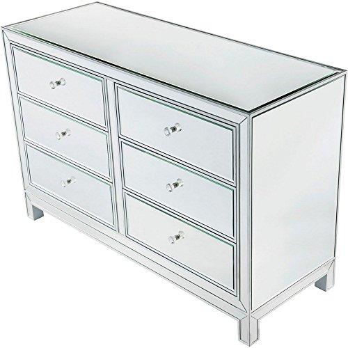 Elegant Lighting 6-Drawers Dresser in Antique Silver Paint Crystal
