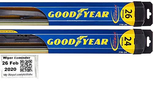 Hybrid - Windshield Wiper Blade Set/Kit/Bundle for 2007-2013 Toyota Tundra - Driver & Passenger Blades & Reminder Sticker