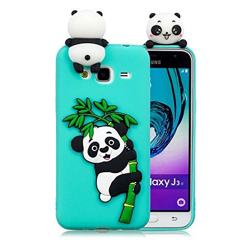 HopMore Funda Samsung Galaxy J3 2016 Silicona Motivo 3D Divertidas Unicornio Panda Bonita Ultrafina Slim Case Antigolpes Cover Protección Dibujo Gracioso Carcasa para Samsung J3 2016 - Verde Panda