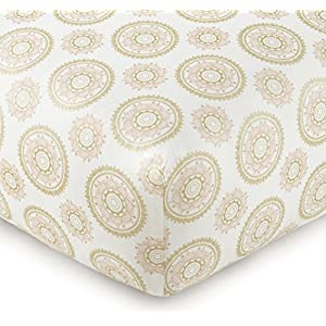 Levtex Baby – Little Feather Pink Crib Fitted Sheet – Fits Standard Crib and Toddler Mattress – Gold Medallion with Coral Pink Accents – Pink Coral Cream Gold – Nursery Accessories – 100% Cotton