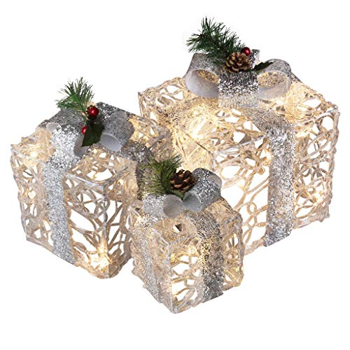 EAMBRITE Set of 3 48LT Lighted Boxes with Bows Present Boxes for Christmas Weddings Party Yard Home Holiday Art Decorations (White and Silver)