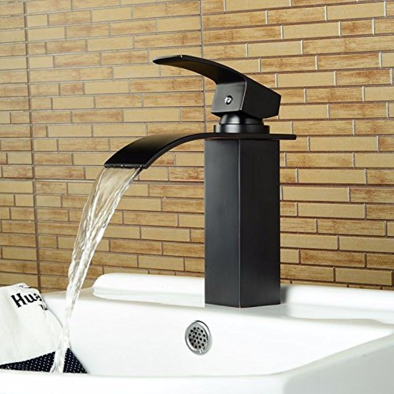 LHbox Einzelne Bohrung Waschbecken Retro Schwarz Wasserhahn Wasserhahn Schwarz Schwarz antiken Tisch Waschbecken mit kaltem Wasser Wasserfall Wasserhahn, Niedrig
