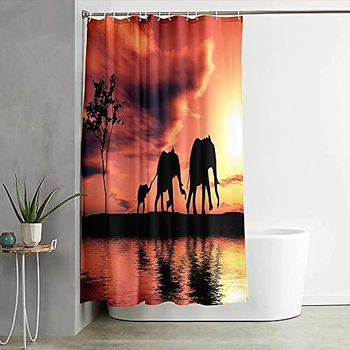 Wasserdicht Duschvorhang 180 x 200cm,Anti-Schimmel Anti-Bakteriell Waschbar Polyester Stoff Duschvorhänge 3D Digitaldruck Duschvorhänge mit 12 Duschvorhangringen - Elefant