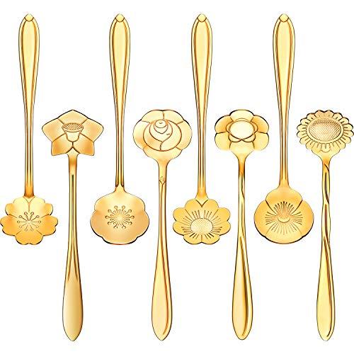 8 Pieces Flower Spoon Coffee Teaspoon Set Stainless Steel Tableware Creative Sugar Spoon Tea Spoon Stir Bar Spoon Stirring Spoon 8 Different Patterns Gold