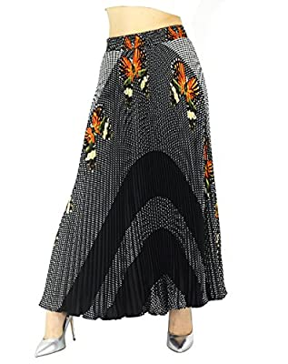 """YSJERA Womens Long Maxi Skirt - 35.4"""" Floral Sunray Pleated Chiffon Bohemian Chic Full Skirts"""