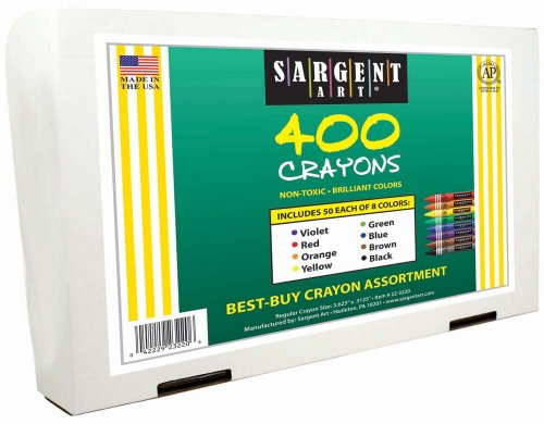 Sargent Art 400-Count Regular Crayon Class Pack, Best Buy Assortment, 8 Colors, 22-3220