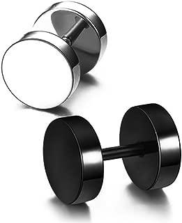 Black barbell earrings hip hop rock round tide people dumbbells screw earrings