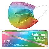 sckang 50 Pcs Disposable Face Mask Comfortable Earloop Mask 3-Layer Multicolor Masks