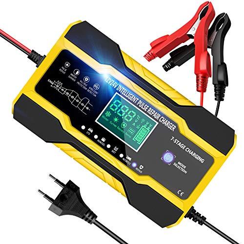 YDBAO Cargador Baterias Coches, 10A 12V/24V Automático Inteligente Múltiples Protecciones con LCD Pantalla Digital para Baterías de Coches, Motocicleta, Barco, etc.