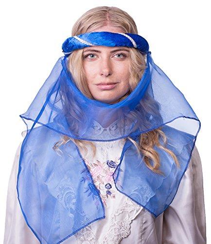 Das Kostümland Mittelalter Haarband Helena für Damen - Blau Silber