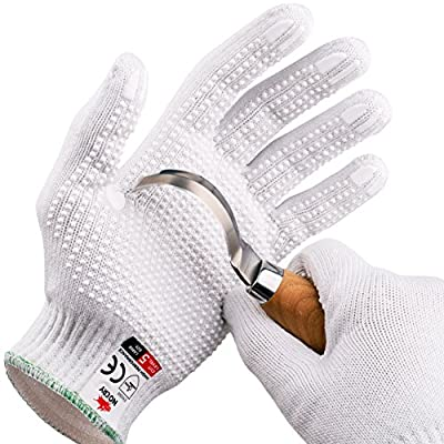 NoCry Cut Resistant Protective Work Gloves with Rubber Grip Dots. Tough and Durable Stainless Steel Material, EN388 Certified. 1 Pair. White