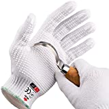 NoCry Cut Resistant Protective Work Gloves with Rubber Grip Dots. Tough and Durable Stainless Steel Material, EN388 Certified. 1 Pair. White (Large)