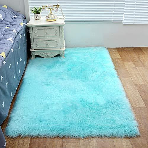 zhongyu Langer Wollteppich, Teppich aus Wollimitat, Teppich mit Sofamatte, Schlafzimmerteppich, Langer Wohnzimmerteppich, Heimteppich