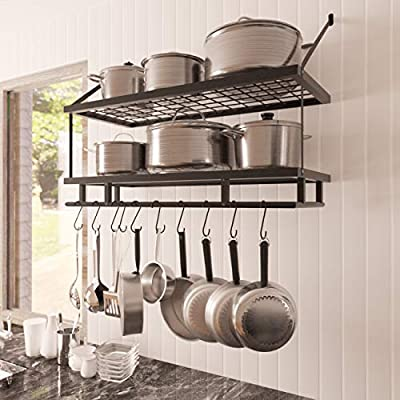 KES 30-Inch Kitchen Pot Rack - Mounted Hanging Rack for Kitchen Storage and Organization- Matte Black 2-Tier Wall Shelf for Pots and Pans with 12 Hooks - KUR215S75B-BK from KES Home