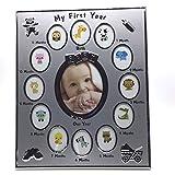 YULIN Marco de fotos para niños con texto en alemán 'Mein primer año de bebé, regalo de cumpleaños para el hogar, decoración para 12 meses